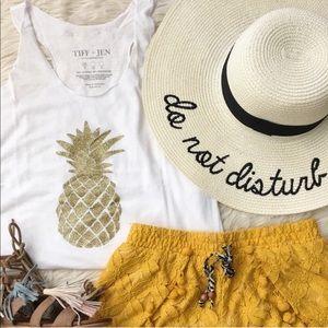 T&J Designs Glitter Gold Pineapple White Tank